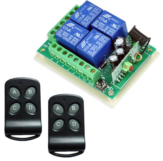 Kit ricevitore e 2 telecomandi 2ch 433.92MHz 220V
